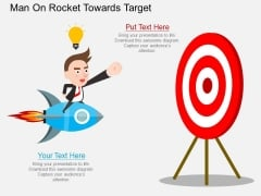 Man On Rocket Towards Target Powerpoint Template