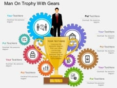 Man On Trophy With Gears Powerpoint Template