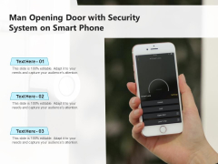 Man Opening Door With Security System On Smart Phone Ppt PowerPoint Presentation Model Grid PDF