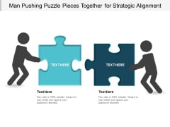 Man Pushing Puzzle Pieces Together For Strategic Alignment Ppt Powerpoint Presentation Portfolio Format Ideas