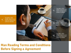 Man Reading Terms And Conditions Before Signing A Agreement Ppt PowerPoint Presentation Icon Background Images PDF