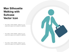Man Silhouette Walking With Suitcase Vector Icon Ppt PowerPoint Presentation Gallery Vector