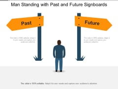 Man Standing With Past And Future Signboards Ppt PowerPoint Presentation File Example PDF
