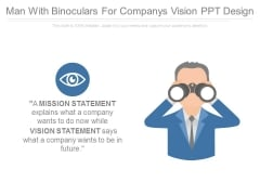Man With Binoculars For Companys Vision Ppt Design