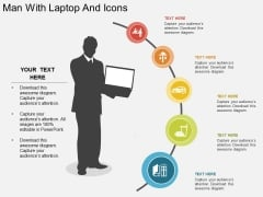 Man With Laptop And Icons Powerpoint Template