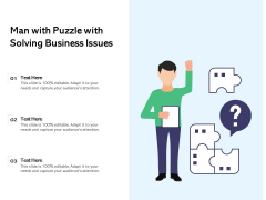 Man With Puzzle With Solving Business Issues Ppt PowerPoint Presentation Infographics Background Images PDF