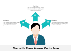 Man With Three Arrows Vector Icon Ppt PowerPoint Presentation Gallery Summary PDF