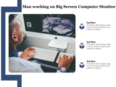 Man Working On Big Screen Computer Monitor Ppt PowerPoint Presentation Layouts Visual Aids PDF