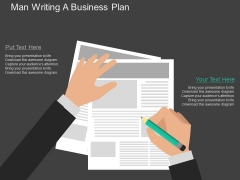 Man Writing A Business Plan Powerpoint Template