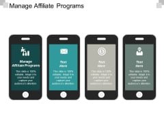Manage Affiliate Programs Ppt PowerPoint Presentation Styles Design Templates Cpb