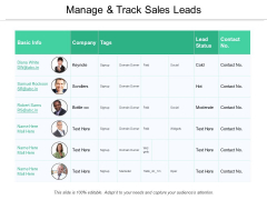 Manage And Track Sales Leads Ppt PowerPoint Presentation Styles Deck