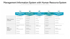 Management Information System With Human Resource System Ppt PowerPoint Presentation Gallery Format Ideas PDF