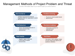 Management Methods Of Project Problem And Threat Ppt PowerPoint Presentation Outline Tips PDF
