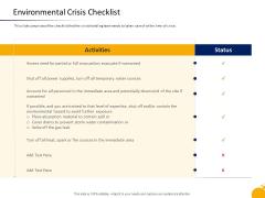 Management Program Presentation Environmental Crisis Checklist Ppt Inspiration Display PDF