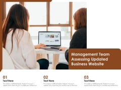 Management Team Assessing Updated Business Website Ppt PowerPoint Presentation Gallery Example Topics PDF