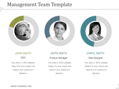 Management Team Template 1 Ppt PowerPoint Presentation Visual Aids
