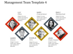 Management Team Template 4 Ppt PowerPoint Presentation Diagrams