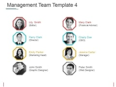 Management Team Template 4 Ppt PowerPoint Presentation Infographic Template Icons