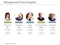 Management Team Template 5 Ppt PowerPoint Presentation Slides