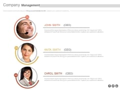 Management Team With Profile Details Powerpoint Slides