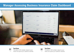 Manager Assessing Business Insurance Claim Dashboard Ppt PowerPoint Presentation Portfolio Visual Aids PDF