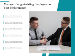 Manager Congratulating Employee On Best Performance Ppt PowerPoint Presentation File Visuals PDF