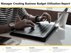 Manager Creating Business Budget Utilization Report Ppt PowerPoint Presentation Infographic Template Graphics Tutorials PDF