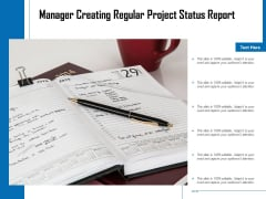 Manager Creating Regular Project Status Report Ppt PowerPoint Presentation Infographic Template Diagrams PDF