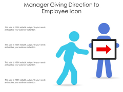 Manager Giving Direction To Employee Icon Ppt PowerPoint Presentation Slides Graphic Images PDF