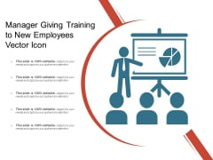Manager Giving Training To New Employees Vector Icon Ppt PowerPoint Presentation Model Gallery PDF