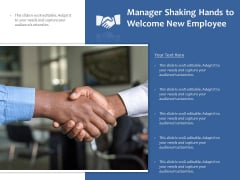 Manager Shaking Hands To Welcome New Employee Ppt PowerPoint Presentation Styles Objects PDF
