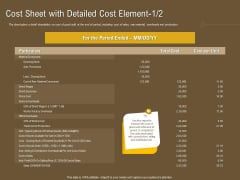 Managerial Accounting System Cost Sheet With Detailed Cost Element Ppt Show Clipart PDF