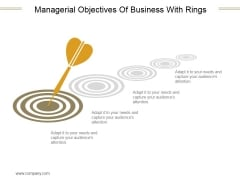 Managerial Objectives Of Business With Rings Ppt PowerPoint Presentation Tips