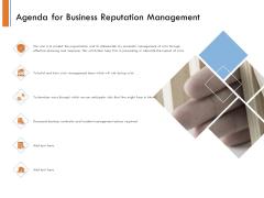 Managing Companys Online Presence Agenda For Business Reputation Management Sample PDF
