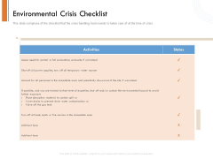 Managing Companys Online Presence Environmental Crisis Checklist Mockup PDF
