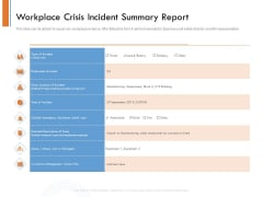 Managing Companys Online Presence Workplace Crisis Incident Summary Report Sample PDF