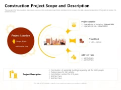 Managing Construction Work Construction Project Scope And Description Ppt Inspiration Guidelines PDF