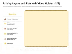 Managing Construction Work Parking Layout And Plan With Video Holder Plan Mockup PDF
