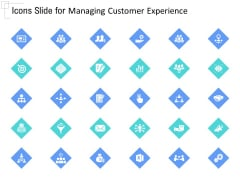 Managing Customer Experience Icons Slide For Managing Customer Experience Ideas PDF