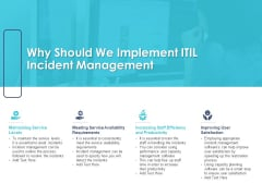 Managing ITIL Incidents Planning Why Should We Implement ITIL Incident Management Template PDF