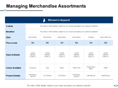 Managing Merchandise Assortments Sizes Available Ppt PowerPoint Presentation Icon Background Image