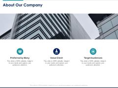 Managing Organization Finance About Our Company Ppt Portfolio Elements PDF