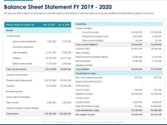 Managing Organization Finance Balance Sheet Statement FY 2019 2020 Ppt File Elements PDF