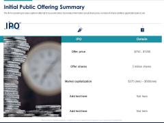 Managing Organization Finance Initial Public Offering Summary Ppt Ideas Styles PDF
