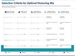 Managing Organization Finance Selection Criteria For Optimal Financing Mix Ppt File Templates PDF