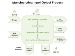 Manufacturing Input Output Process Ppt PowerPoint Presentation Model Backgrounds PDF