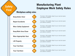 Manufacturing Plant Employee Work Safety Rules Ppt PowerPoint Presentation File Files PDF