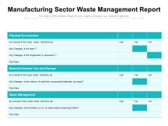 Manufacturing Sector Waste Management Report Ppt PowerPoint Presentation Infographic Template File Formats PDF