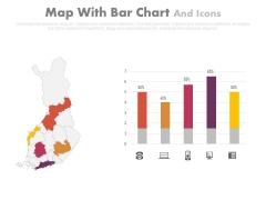 Map Diagram With Bar Graph And Icons Powerpoint Slides