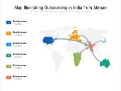 Map Illustrating Outsourcing In India From Abroad Ppt PowerPoint Presentation File Elements PDF